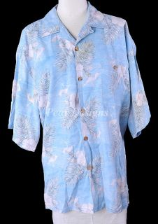 Joe Marlin Tropical Palm Trees Blue Shirt Mens Sz 2XL XXL