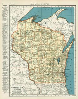Wisconsin Authentic Depression Era Vintage Map Genuine 74 Years Old