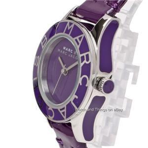 New Marc Jacobs Purple Leather Mini Blade Watch MBM1158