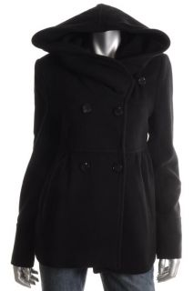 Marc New York New Black Wool Blend Double Breasted Hooded Jacket Coat