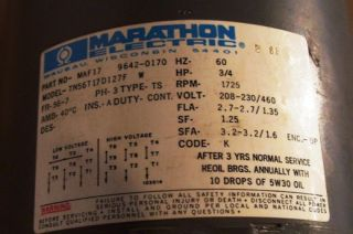 Marathon 3 4 HP Motor for Amtrol Water Circulator Pump