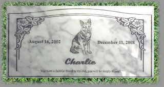 Thick White Marble Memorial Marker Pet Grave Headstone