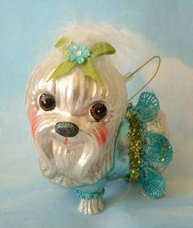 Holiday Sassy Glitzy Glass Maltese Puppy Dog Christmas Ornament