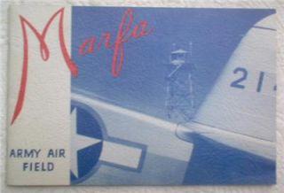 1943 World War WW II Marfa Army Air Force Field Pilot Training Book w
