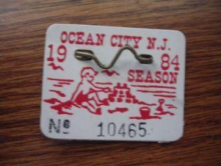 Original 1984 Beach Tag Badge Ocean City New Jersey Ocnj