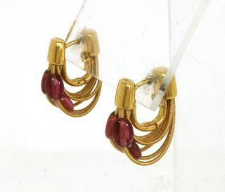 Marco Bicego 18K Gold Rubies Ladies Multi Rows Huggie Earrings