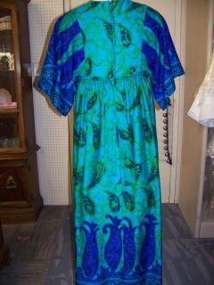 Vintage 70s Hilo Hattie Evelyn Margolis Empire Waist Maxi Dress Muumuu