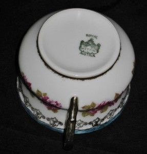 Royal Wettin Austria Plate Cup Saucer Pink Roses Green Rim Gold