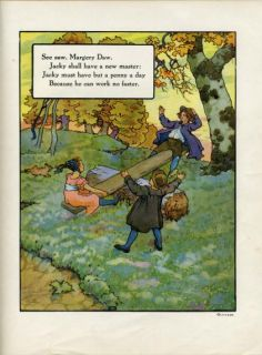See Saw Margery DAW Mother GOOSE Rhyme Print 1921