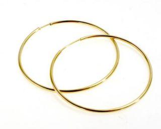 Fashion Jumbo Big Hoop Gold 18K GF Earrings Thin Plain Classic 42mm