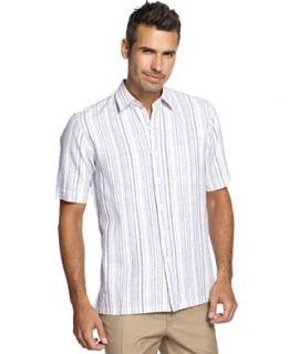 Tasso Elba Big and Tall Shirt, New Intext Stripe Linen Blend Shirt