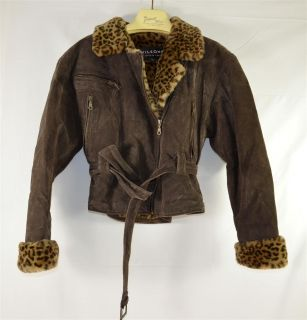 Wilson Dark Brown Suede Leather Faux Leopard Lined Womans Short Jacket