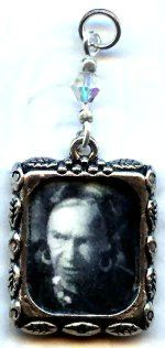 Altered Art Vintage Wolfman Gypsy Fortune Teller Maleva Charm Pendant