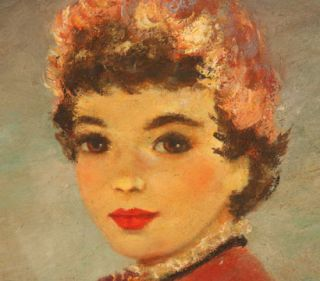 IMPRESSIONIST OIL PAINTING YOUNG FRENCH GIRL SIGNED ARTIST MARION RICE