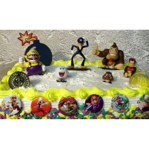 Super Mario Brothers Birthday Cake Set Wario Waluigi Goomba Diddy Kong