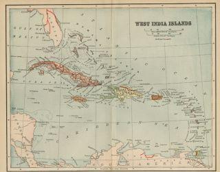 West Indies Map 1891 Cuba Jamaica Puerto Rico Virgin Bahama Islands