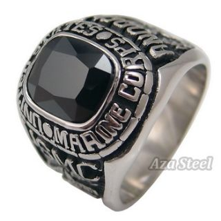 States Marine Corps Black Onyx Stainless Steel Ring Size 9 12