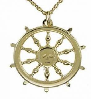 Disney Couture Gold Pirates Sailing Vessel Steering Wheel Necklace