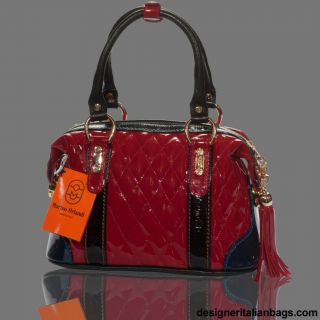 Marino Orlandi Italian Designer Red Patent Quilted Leather Purse Bag