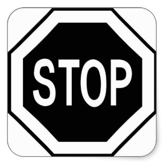 Stop Symbol Sign   Black on White Stickers