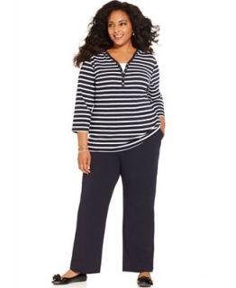 Karen Scott Plus Size Three Quarter Sleeve Striped Hoodie & Pull On