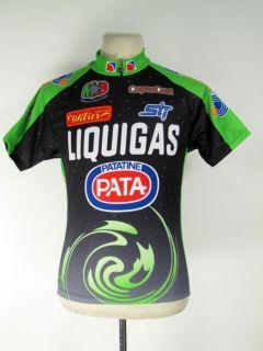 New Marcello Bergamo Cycling Jersey L Luclar PATA Liquigas Blk Green