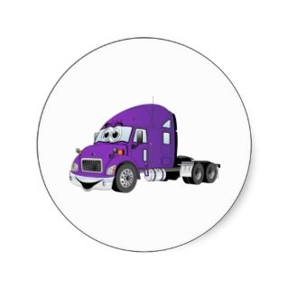 Semi Truck Purple Cartoon Stickers
