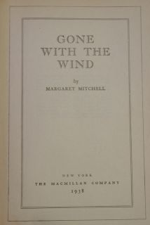 Margaret Mitchell Gone with The Wind Early 1938 w DJ Civil War 1936