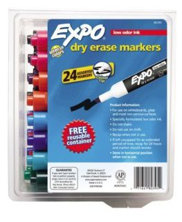 24 Expo 2 Low Odor Chisel Tip Dry Erase Markers