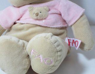 2010 FAO Schwartz Pink Girl Teddy Bear Musical Crib Pull Toy Lovey