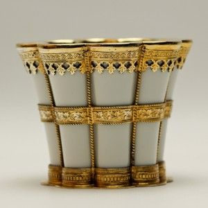 Fine Antique Royal Copenhagen Porcelain Cup w Gilt Sterling Mounts A