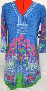 White Mark Couture Collection Womens Sassy Peacock Dress Large