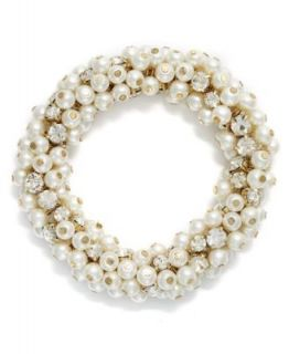 Charter Club Bracelet, Gold Tone Glass Pearl and Bead Cluster Bracelet