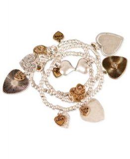 Jessica Simpson Bracelet Set, Beaded Heart Charm Bangle Set   Fashion