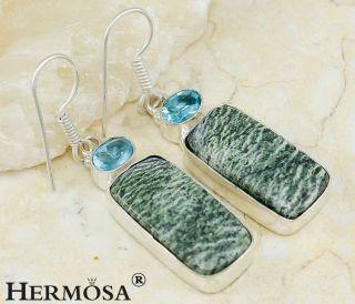Amazing Marra Manba Jasper Hot Blue Topaz Sterling Silver Earrings 1 7