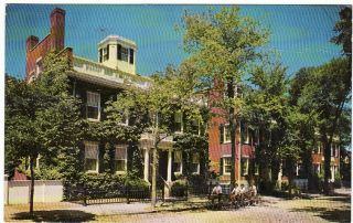 MA Nantucket Three Bricks Houses on Main St Postcard
