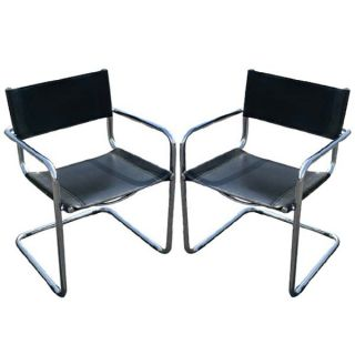 Mid Century Modern Mart Stam Leather Arm Chairs