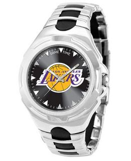 Game Time Watch, Mens Los Angeles Lakers Black Rubber and Stainless