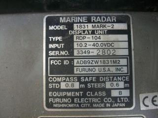 Furuno 1831 Mark 2 Marine Radar Fish Finder Display RDP