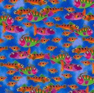 Commotion in The Ocean Cute Fish Fabric FQ RARE