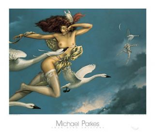 Night Flight Michael Parkes Fantasy Swan Nude Print