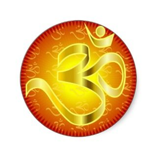 Aum or Om Symbol in yellows & reds Round Sticker