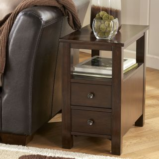 Ashley Marion Brown Finish Chairside Cabinet Table  New
