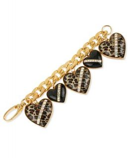 Betsey Johnson Bracelet, Gold Tone Glass Crystal Leopard Heart Chain