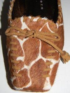 Martinez Valero Brown White Pony Horsehair Giraffe Print Shoes Sz 6