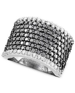 Effy Collection 14k White Gold Ring, Black and White Diamond Band (2 3