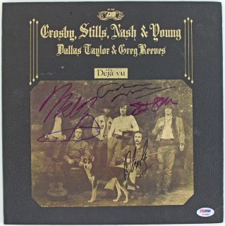 CROSBY STILLS NASH & NEIL YOUNG SIGNED ALBUM COVER W/ VINYL PSA/DNA #