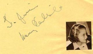 Mary Carlisle Vintage 1930s Original Signed Album Page Autographed