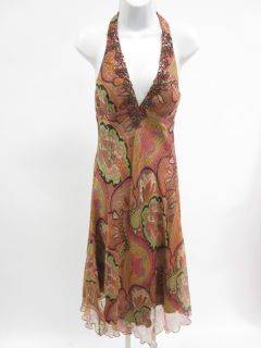 Mary L Couture Multicolor Paisley Beaded Halter Dress 6