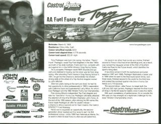 Tony Pendregon Castrol AA Fuel Ford Funny Car NHRA Print 2000